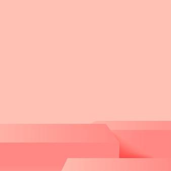 ピンクの幾何学的な 3 d 表彰台と抽象的な背景