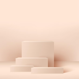 Abstract background with pink geometric  podiums. .