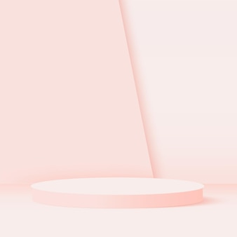 Abstract background with pink geometric  podiums.