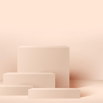 Abstract background with pink square geometric  podiums.