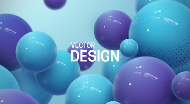 Абстрактный фон с пластиковыми синими и фиолетовыми пузырями