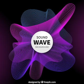 Abstract background with purple and blue sound waves