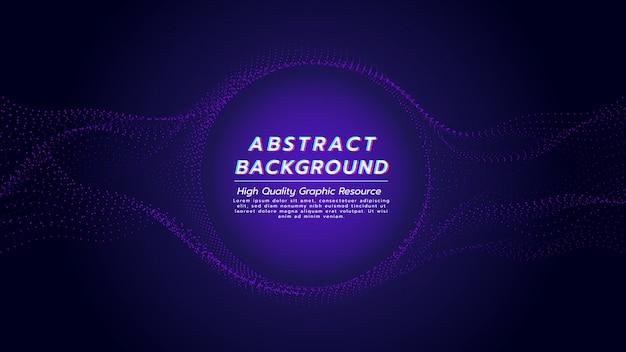 紫色の粒子の流れと中心の円で抽象的な背景