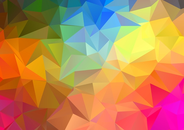 Abstract background with a rainbow coloured low poly abstract design