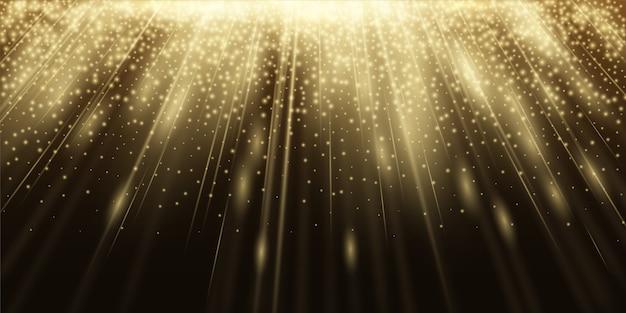 Абстрактный фон с лучами света и сверкающими частицами. светятся в темноте