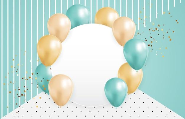 Абстрактный фон с реалистичными воздушными шарами кадр конфетти