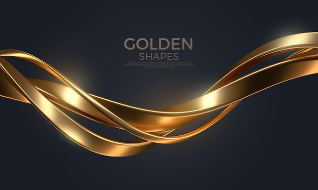 Abstract background with realistic golden intertwined metal shape