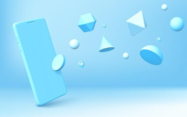 リアルなスマートフォンと幾何学的な3d形状の抽象的な背景が青い背景に散らばっています。半球、八面体、球、円錐、円柱、二十面体とベクトル携帯電話のレンダリング