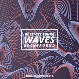 Abstract background with red and blue sound waves
