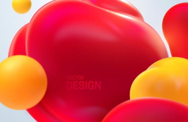 빨간색과 노란색 반투명 거품으로 추상적 인 배경