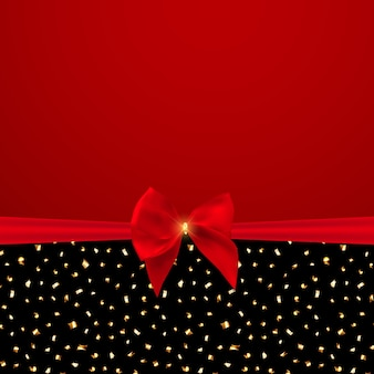 Abstract background with red bow and ribbon.