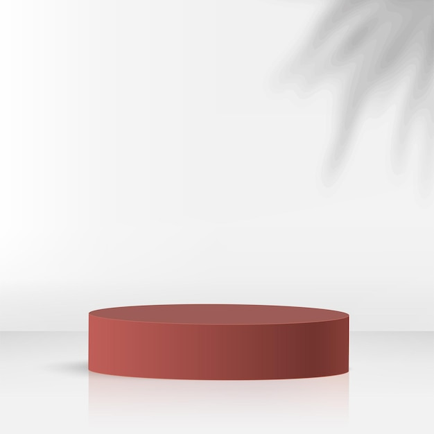 Abstract background with red color geometric 3d podiums. vector illustration