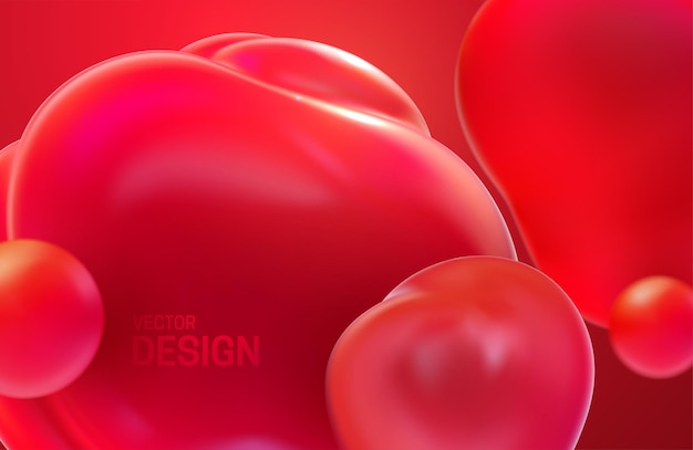 Abstract background with red translucent bubbles