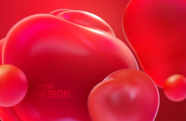 빨간색 반투명 거품으로 추상적 인 배경