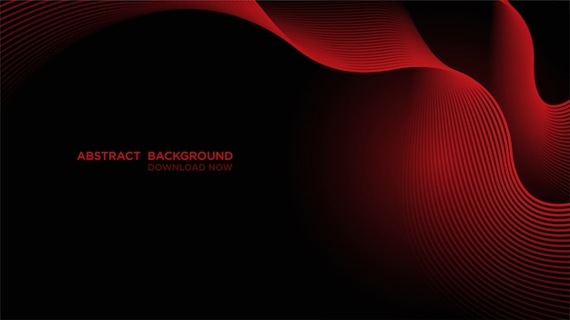Abstract background with red waves on dark
