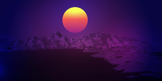 Abstract background with a retro wireframe landscape design
