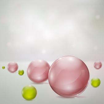 Абстрактный фон с розовыми и зелеными стеклянными сферами