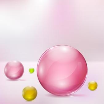 Абстрактный фон с розовыми, желтыми и зелеными стеклянными сферами