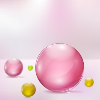 Abstract background with rosy, yellow and green glass spheres