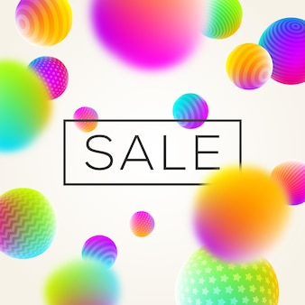 Abstract background with sale banner and multicolored spheres.