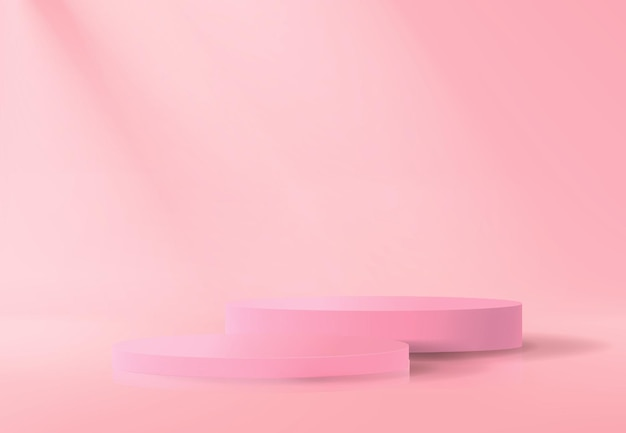 Abstract background with set of empty podiums in pink in minimalistic style