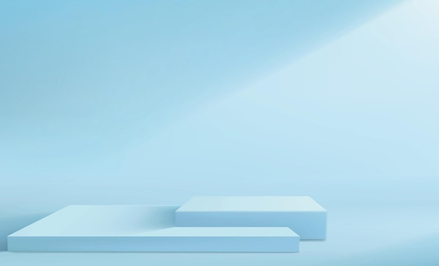 Abstract background with a set of pedestals in pastel blue colors. square empty display stands.