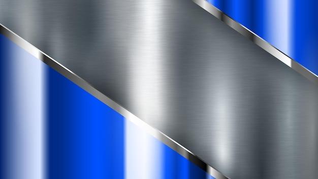 빛나는 스트립이 있는 은색과 파란색 금속 질감이 있는 추상적인 배경