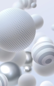 Abstract background with silver and white bouncing bubbles or balls