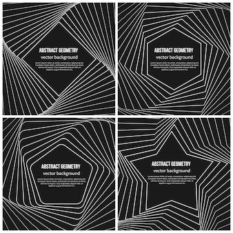 Абстрактный фон с простыми геометрическими фигурами в линейном стиле. пентагон и ромб, форма звезды и шестиугольника