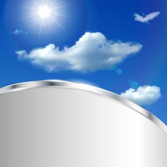 하늘, 구름, 태양, 금속 스트립이 있는 추상적인 배경