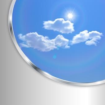 하늘 태양 구름과 금속 스트립 추상 배경