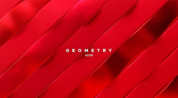 기울어 진 된 빨간색 물결 모양의 리본 패턴으로 추상적 인 배경