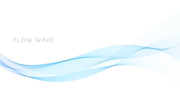 Abstract background with smooth blue wave curve. wavy flow design isolated on white background. fluid curve element for brochure, presentation. vector illustration of sound energy movement