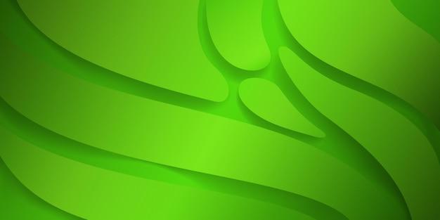 緑の色の滑らかな波状の形で抽象的な背景