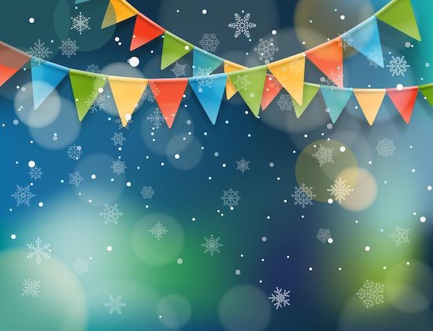 Абстрактный фон со снегом и цветными флагами