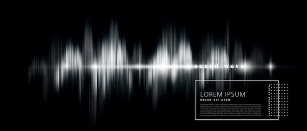 Abstract background with a sound wave, black and white version.