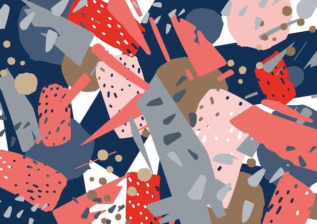 青、ピンク、赤の破片が散在する様式化された混沌としたテクスチャと抽象的な背景