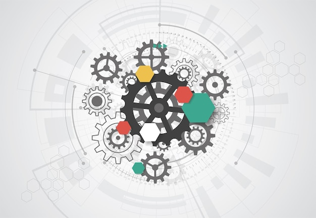 기술 회로 기판 텍스처와 추상적인 배경입니다. 전자 마더보드 그림입니다. 통신 및 엔지니어링 개념입니다. 벡터 일러스트 레이 션