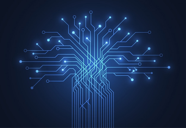 Abstract background with technology tree circuit board