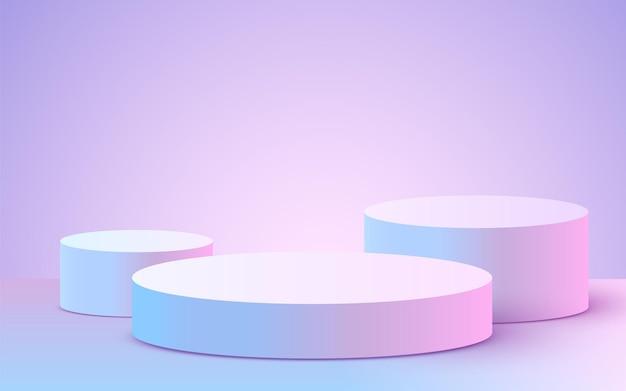 紫のシリンダー表彰台と抽象的な背景