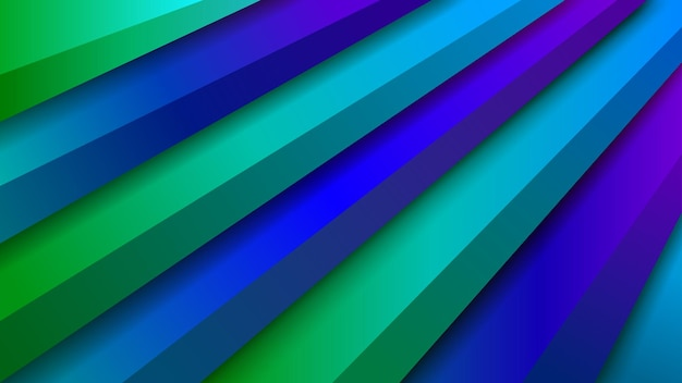 파란색과 녹색 색상의 체적 계단이 있는 추상적인 배경