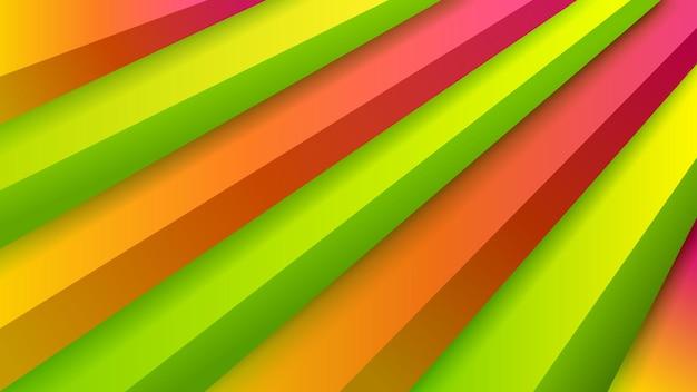 녹색, 주황색 및 보라색 색상의 체적 계단이 있는 추상 배경