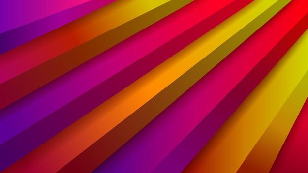 빨간색, 보라색 및 노란색 색상의 체적 계단이 있는 추상 배경