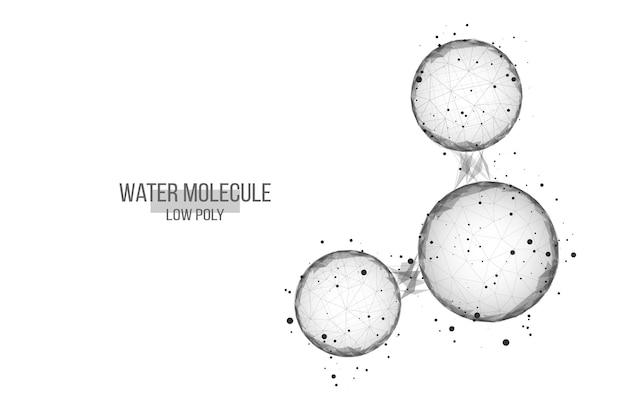 물 분자와 추상적인 배경입니다. 낮은 폴리 와이어프레임 스타일.