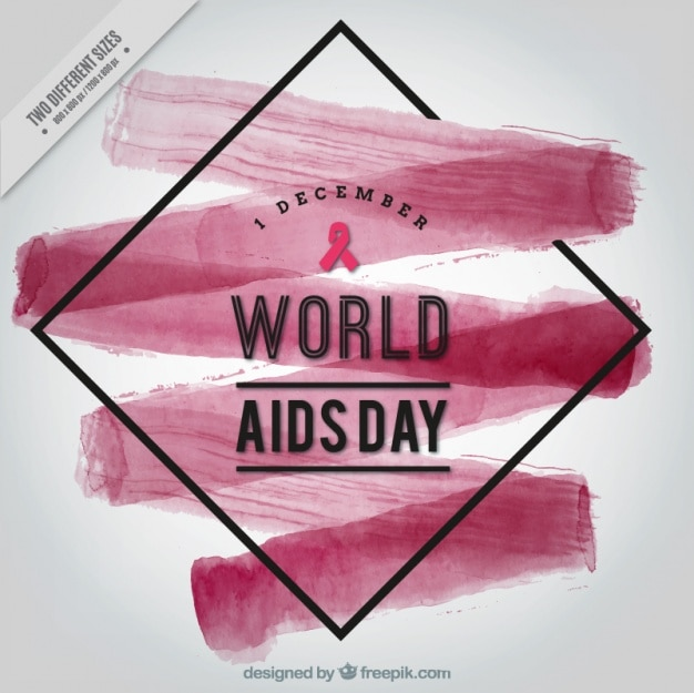 Abstract background with watercolor brush stroke of world aids day