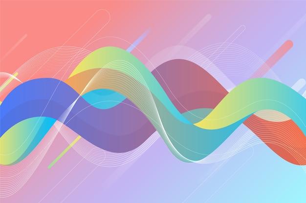 波状のカラフルな図形と抽象的な背景