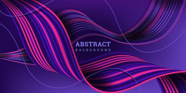 波状の縞模様のリボンと抽象的な背景