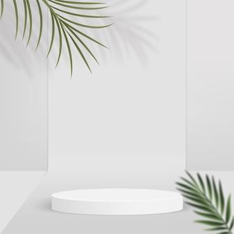 白い色の幾何学的な 3 d 表彰台とヤシの木と抽象的な背景