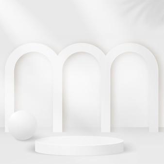 白い色の幾何学的な3d表彰台と抽象的な背景。 Premiumベクター