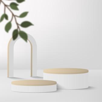 白い色の幾何学的な3d表彰台と抽象的な背景。ベクトルイラスト。